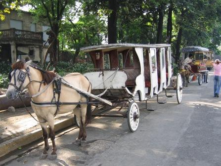 Various types of Kalesa's at Fort Santiago
